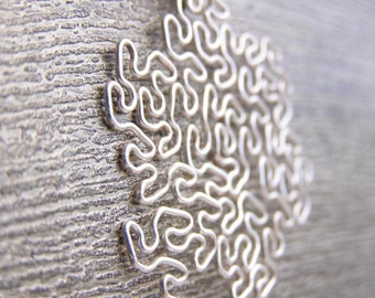 Fractal Necklace - Peano-Gosper in Silver