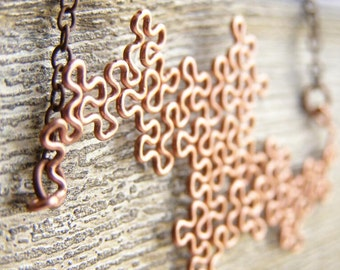 Fractal Necklace - Terdragon in Raw Copper