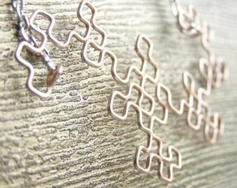 Fractal Necklace - Dragon Curve in Rose Gold