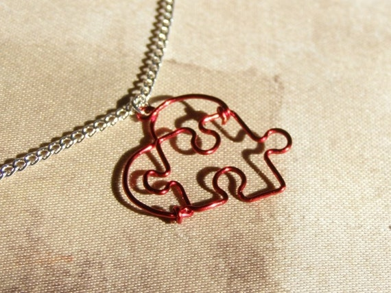 Puzzle Heart Necklace, Red