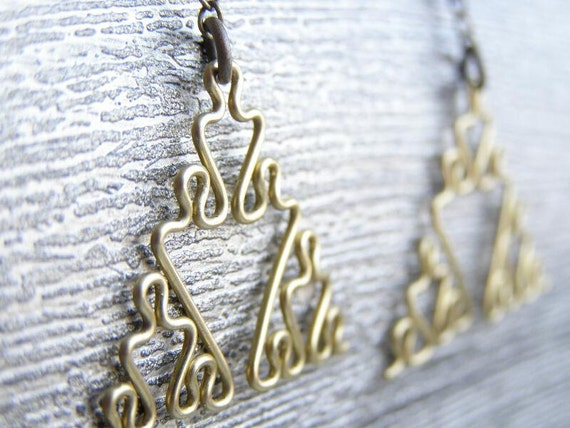 Fractal Earrings - Sierpinski Triangles in Brass