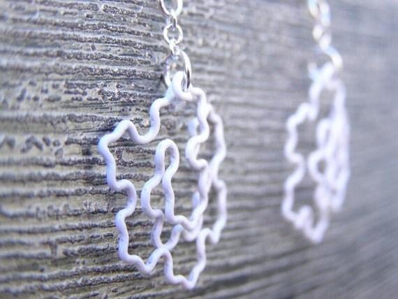 Fractal Earrings - Koch Snowflake in White