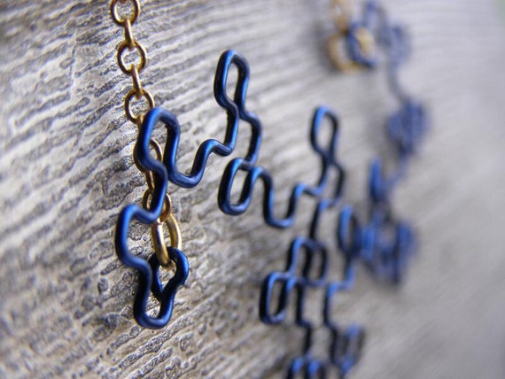 Fractal Necklace - Dragon Curve in Navy Blue