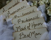 Rustic Chic Wedding Decor Set of 6 Bridal Party Chair Signs Best Man Maid of Honor Bridesmaids Groomsman Perfect for Outdoor Wedding