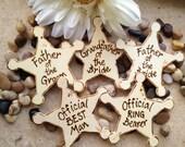 Wedding Sheriff Badges Gifts for Men • Father of Bride & Groom • Nephew • Ring Bearer Best Man • Groomsman • Usher • Police • Deputy (set 7)
