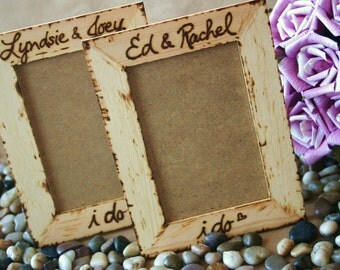 Rustic Wedding I Do Personalized Frame with Couples Names Natural Woodland Chic Gift Decoration