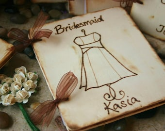Bridal Party Wedding Gifts Set - Set of 6 - Scrapbook Journal Keepsake - Engraved with YOUR dress - Sentimental and Personalized