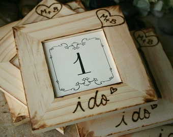 Rustic Wedding Personalized Table Number Frames Distressed Country Barn Wood Set of 6