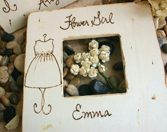 Flower Girl Gift Keepsake Thank You Favor for the Special Little Girl Rustic Chic and So Sentimental YOUR Dress Personalized on Wood Frame