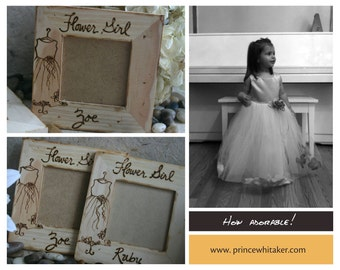 Flower Girl Gifts Picture Frames Set of 2 Thank You Gift for Rustic Wedding Cottage Style with YOUR Dress Hand Engraved