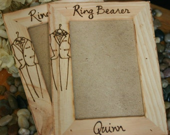 Set of 2 Ring Bearer Gift Wood Picture Frame Engraved with NAME and Little Tuxedo Rustic Chic Wedding