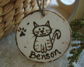 Personalized CAT Christmas Ornament with a Cute Cat Paw Prints and their Name and Date