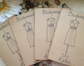 Bridesmaids Cards Thank you for Being My Bridesmaid Will you Be my Maid of Honor Wedding Cards with THEIR Dress Personalized SET of 9
