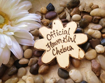 Flower Girl Gift Official Badge for your Rustic Chic Wedding in the Shape of a Flower How Adorable for the Little Girl