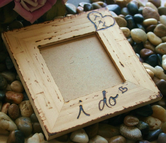 Rustic Wedding Engagement I Do Rustic Chic Frame Natural Wood Personalized Carved Initials in a Heart Wedding Anniversary