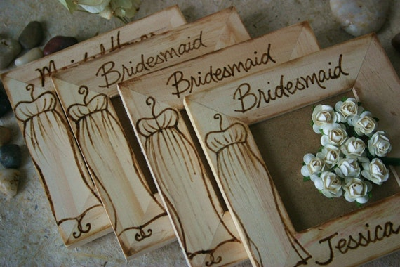 Personalized Bridesmaid Favors Gifts Bridal Party Gifts Picture Frames Rustic Woodland Art in Wood Gown Dress Set of 4 custom frames