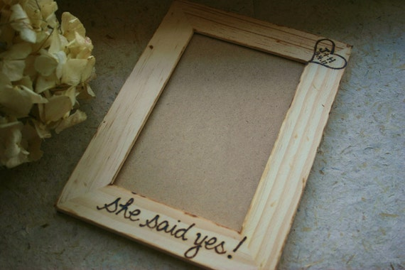 She Said Yes - Personalized Engagement or Wedding Gift Fun Keepsake Rustic Woodland Chic with Heart and Initials