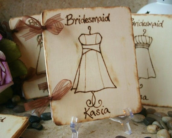Gifts for Bridesmaids Scrapbook Keepsake Journal Engraved with YOUR Dress and Personalized for Each Girl Rustic Chic Wedding Set of 8