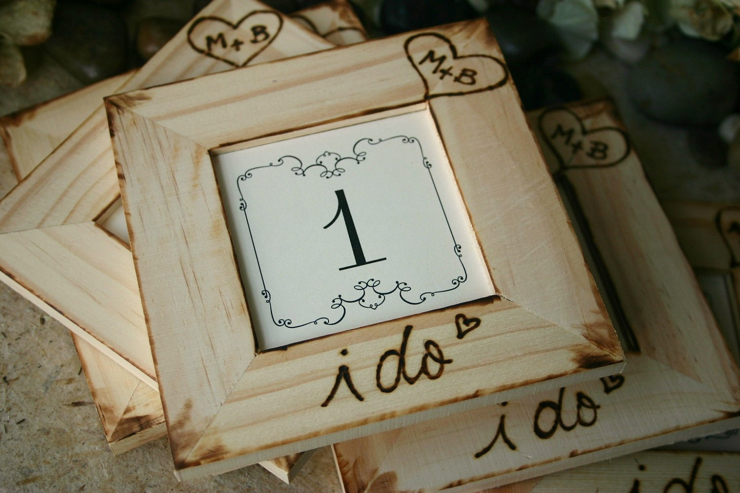 Rustic Wedding Personalized Table Number Frames By
