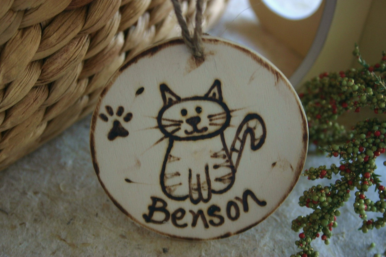 Personalized CAT Christmas Ornament with a Cute Cat Paw ...