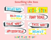 Dr. Seuss Inspired Birthday Something like Soos Large Party Signs