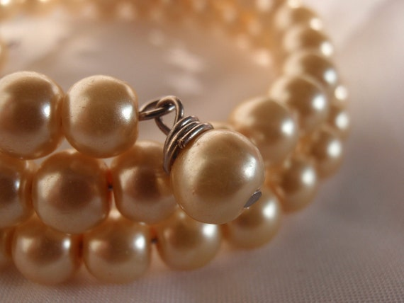 Ivory Glass Pearl Memory Wire Bracelet with Bead Dangles on each end... BRACELETS, Bridal