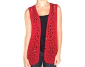 Hippie Vintage Sweater Vest Red Open-Knit Sweater Vest Coachella Crochet Shirt Vest Jumper Button up Red Top Summer Spring