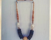 Vintage 1980s  Wood Beaded and Shell Necklace