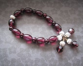 Beaded Stretch Bracelet In Purple and Silver