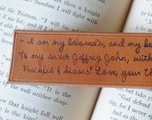 Personalized leather bookmark with branded quote or message for your loved one, Father's Day or anniversary gift