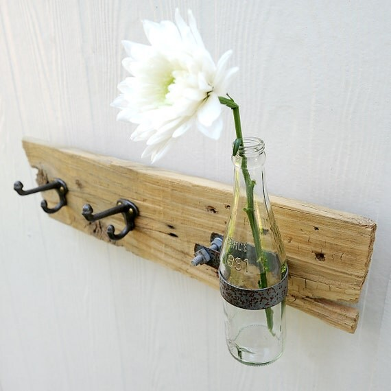 OOAK RACK bottle and hook wall organizer, rustic reclaimed fence picket, vase for your fresh spring flowers