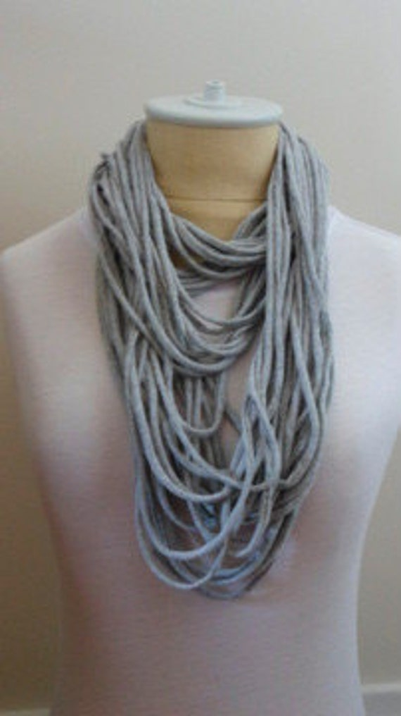 Necklace Infinity Scarf - Gray Jersey Upcycled