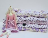 The Princess and the Pea play set - lovely fairy tale fabric doll,blonde in pink dress- gift idea for girls