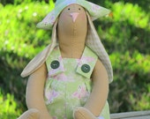 Lovely Easter bunny fabric doll in pink green,rabbit toy, plush,softie doll Tilda style - Easter decor,gift idea for children, Easter gift