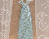 Handmade fabric doll, cloth doll guardian Angel blue flower dress,brunette art angel doll Tilda style plush softie- gift for girl and mom