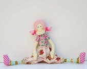 Cloth doll,softie,stuffed doll, cute textile doll for little girls. Handmade child friendly fabric doll in pink, plushie - Gift  for girls.