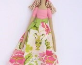 Cute fabric doll in pink flower dress- cloth doll,stuffed doll blonde in Tilda style- gift idea for girls.Collectible doll