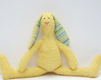 Stuffed bunny lovely soft terry cloth bunny rabbit hare sunny yellow softie plush bunny toy gift for baby shower girl and boy