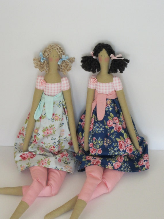 Pretty fabric doll in blue and pink rose dress,blonde and brunette - Tilda style- gift for girls