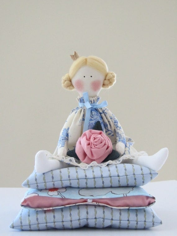 Lovely cloth doll, Fairy tale doll Princess and the Pea in blue and white dress,blonde with a rose,handmade fabric doll - gift for girl