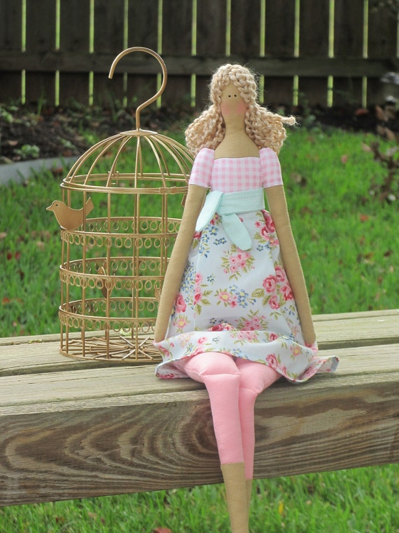 Pretty fabric doll in blue pink rose dress,blonde in Tilda style,cloth doll,art doll ,cute stuffed doll, rag doll - gift for girls