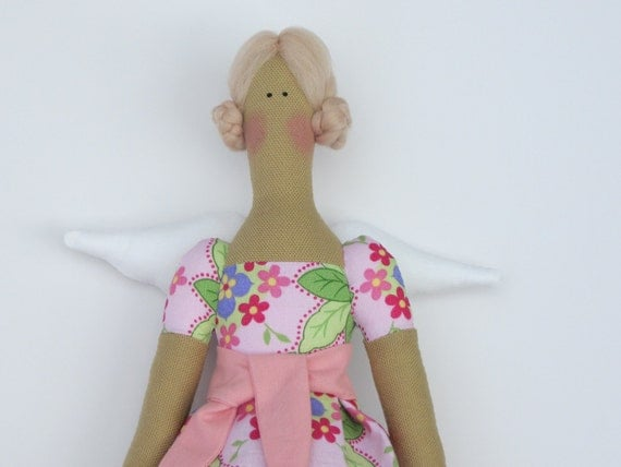 Charming handmade cloth doll,fabric angel doll in pink,blonde-Tilda style,stuffed doll,art doll. Gift for girl and mom