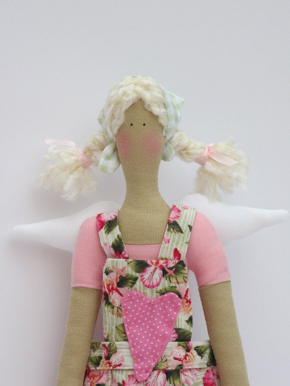 Lovely fabric doll,cloth doll, art doll,angel - blonde in pink  flower heart patch clothing,stuffed doll-Tilda style - gift idea for girls