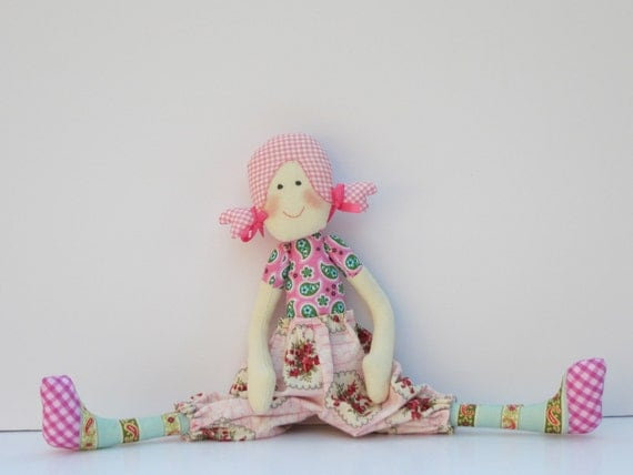 Cloth doll,softie,stuffed doll, cute textile doll for little girls. Handmade child friendly fabric doll in pink, plushie.Gift  for girls.