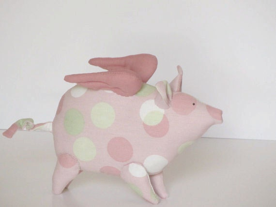 Reserved for Patti - Flying pig - softie,stuffed animal toy,plush in pink polka dot- birthday gift