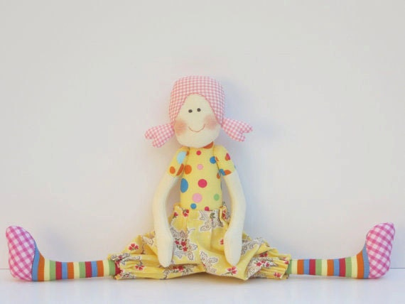 Cloth doll softie-stuffed doll, textile doll for little girls. Handmade child friendly fabric doll  yellow polka dot plushie.Gift for girls.