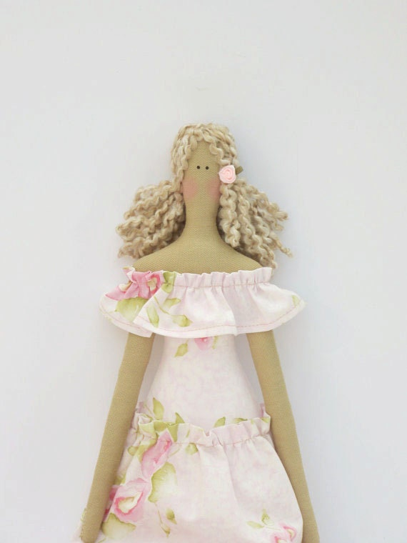 Soft and tender fabric doll in lovely pink dress, cloth doll, art doll, handmade stuffed doll summer doll blonde - gift idea for girls