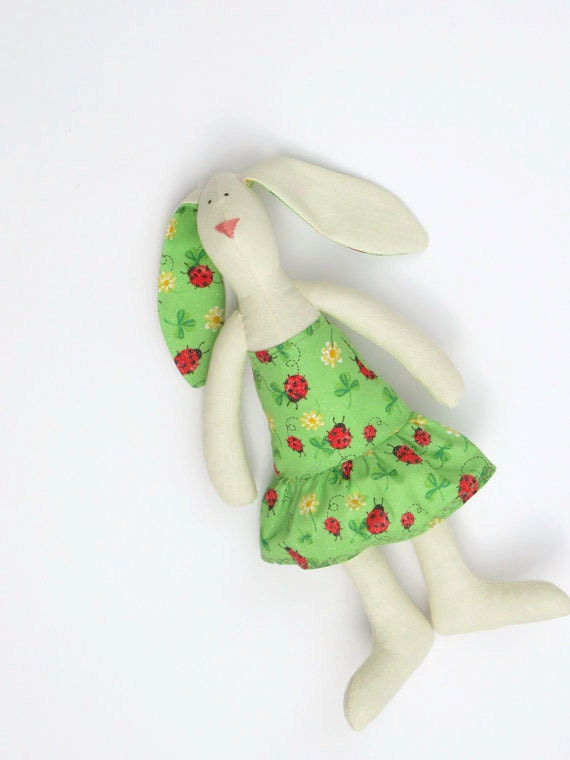Stuffed animal bunny rabbit toy,white hare plush toy softie,child friendly bunny toy in cute green dress,hare - Gift idea for girls.