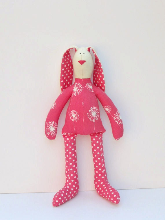 Bunny summer rabbit hare bright pink polka dots - plush  bunny doll -cute softie stuffed toy hare - birthday gift idea for children
