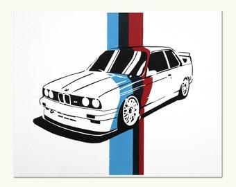 Classic Car Print - BMW E30 M3 (M Colors)